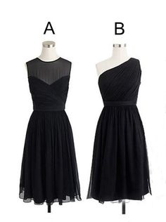 different styles black short knee length chiffon line bridesmaid dress chbd