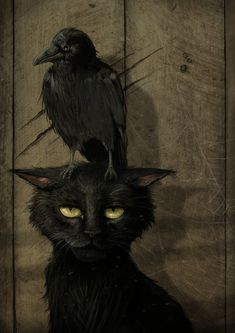 "the raven and the cat (small raven that is... or perhaps the artist is one of those who thinks ""raven"" and ""crow"" are synonymous.)"