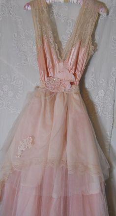 Pink tulle dress silk lace ruffles romantic by vintageopulence,