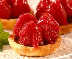 Strawberry Tarts ~  Cream cheese pastry coated with chocolate and topped with fresh strawberries and a strawberry glaze--what could be better for dessert?