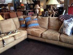 Oversized Sectional, Tan Suede
