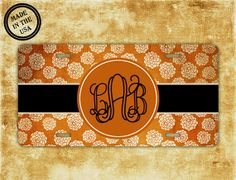Car tag license plate  Fall colors burnt orange by PreppyCentral, $16.99 #monogrammedlicenseplate #personalizedgifts