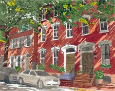 Townhouses in Lancaster, PA - 2013 8 x 10 inch watercolor on paper