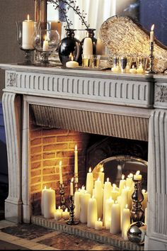 If you're looking to bring the hearth into your home, or simply revamp your fireplace, these Living Room Fireplace designs are the perfect inspiration. in fireplace ideas 20 Ways to Dress Up Your Fireplace (No Fire Necessary) Empty Fireplace Ideas, Unused Fireplace, Living Room Decor Fireplace, Vintage Fireplace, Candles In Fireplace, Fireplace Hearth, Fireplace Design, Fireplace Candle Holder, Living Room Candles