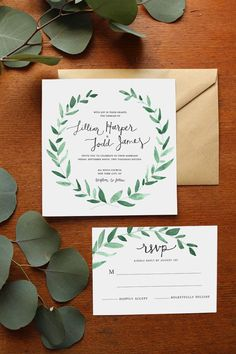 Natural Greenery Wreath Watercolor Wedding by SugaredFigPaperie