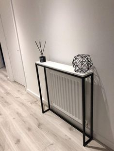 Classic White Marble Console Table (Radiator Cover) - wide x deep x high Marble Console Table, Narrow Console Table, Living Room Colour Design, Hallway Designs, Radiator Cover, Entrance Ways, Concrete Wood, Hallway Decorating, Classic White