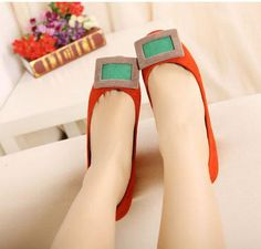 Orange Fashionable Suede Flats with Bold Buckle Accent