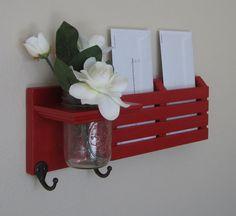 Shabby Chic Nautical Beach Cottage Flower Vase Key ring Mail holder Coat Towel Hat Rack Hanger Hooks in Ladybug Red