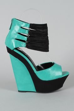 Wedges Hot Aurora Teal Green
