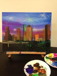 Fireworks over Houston painting by Lauren Luna  www.artistaluna.com