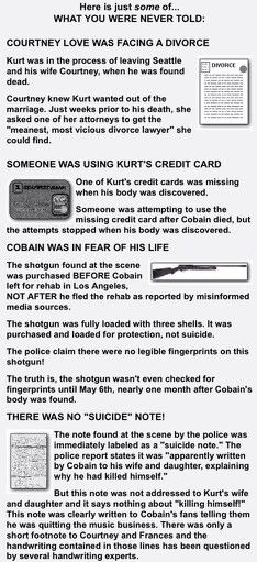 kurt cobain was murdered essay Kurt cobain was the lead singer, lead guitar, and a founding member of this very band the purpose of this essay is to understand how he shaped our musical culture from his very own experiences in life.