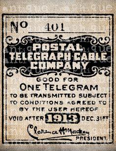 Antique Post Office Postmark Style Telegram