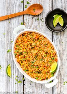 This Easy Mexican Rice is light, fluffy, and flavorful! The best part is that everything gets tossed into the rice cooker, you walk away, and the magic happens in minutes. http://mommyshomecooking.com