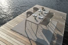 TOSCA - Contemporary dining table / glass / stainless steel / ceramic by TRIBÙ Outdoor Rooms, Outdoor Dining, Outdoor Chairs, Outdoor Decor, Garden Furniture, Outdoor Furniture Sets, Furniture Design, Outdoor Carpet, Contemporary Dining Table