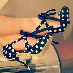White polka dotted high heels ladies shoes | Fashion World