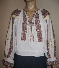 Antique hand embroidered Romanian blouse from Muntenia /brown embroidery available at www.greatblouses.com Blouses, Costume, Embroidery, Antiques, Brown, Long Sleeve, Sleeves, Sweaters, Tops