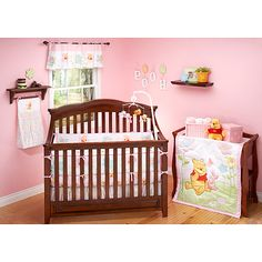 Disney - Pooh Sweetest Hunny 4-Piece Crib Bedding Set  I like the pink and yellow colors here