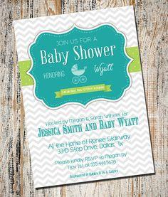 Baby Boy Shower Invitation / Chevron Baby Boy by partyprinters