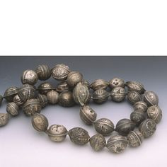 Antique silver beads from Mauritania in northwest Africa.