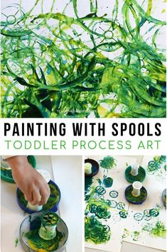 The best toddler process art activities often used recycled products, making them extremely easy to create. Using empty thread spools is a fun way to stamp paint onto paper, plus they leave a fun design. There\'s lots of action in this project that young children love! #toddlers #processart #shapes #art #AGE2 #teaching2and3yearolds