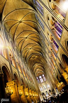 Inside Notre Dame Cathedral, Paris, France- Saw this in April it was amazing! Cathedral Architecture, Religious Architecture, Art And Architecture, Scenic Photography, Night Photography, Photography Tips, Landscape Photography, Places To Travel, Places To See