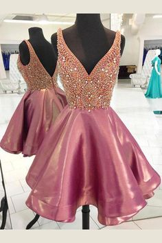 Homecoming Dresses A-Line, Short Homecoming Dresses, Sleeveless Prom Dresses, Homecoming Dresses Short #SleevelessPromDresses #ShortHomecomingDresses #HomecomingDressesShort #HomecomingDressesALine