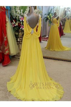 A-line V Neck Yellow Chiffon Long Formal/ Evening/ Prom Dresses AM292