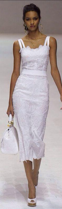 Women's fashion   Elegant white lace dress by Dolce Gabbana