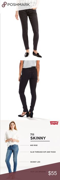 Levi's 711 Skinny Black Jeans New PRODUCT FEATURES •5-pocket styling •Zipper fly with button closure  FIT & SIZING •Short: 28-in. inseam •Average: 30-in. inseam •Tall: 32-in. inseam •Midrise sits at waist •Slim through hip and thigh •Skinny leg   FABRIC & CARE •Cotton/elastane (Rustic Woodland) •Cotton/polyester/elastane (all other washes) •Machine wash •Imported  New with tags. Levi's Jeans Skinny