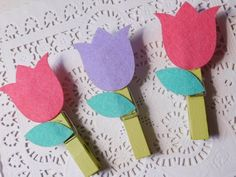 Wood Clothespin Clips - Handmade Tulips