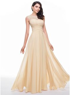A-Line/Princess Scoop Neck Floor-Length Chiffon Tulle Prom Dress With Ruffle Beading Flower(s)