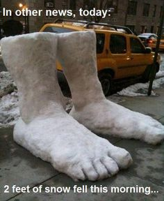 Two feet of snow fell this morning.