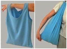 Convierte tu camisa vieja en una bolsa. Perfecta para salir de compras.