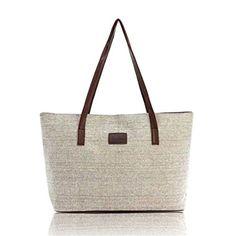 HN Fashion Canvas Handbag Women Shoulder Bags Large Tote Khaki >>> Visit the image link more details. Note:It is affiliate link to Amazon.
