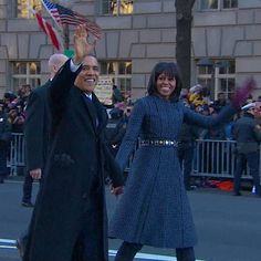 President Barack Obama and first lady Michelle Obama walk down Pennsylvania Avenue during the 57th Presidential Inauguration parade. (Photo: NBC News) #NBCPolitics
