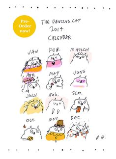 2014 Dancing Cat Calendar PreOrder by jamieshelman on Etsy, $36.00