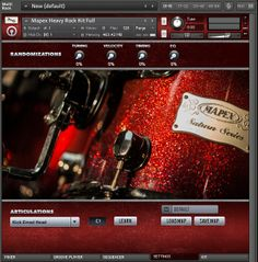 The Settings page for the Mapex Heavy Rock Kit contact interface