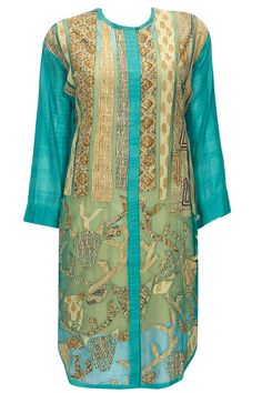 Turquoise hand block printed patchwork tunic by Richa Aggarwal. Shop now…