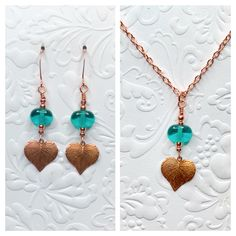 Teal lampwork beads with stamped copper leaves. Earrings are approximately 2 inches Copper chain is 24 inches and pendant is approximately Ladybug Jewelry, Christmas Tree Earrings, Earring Tree, Lampwork Beads, Tassel Necklace, Teal, Copper, Pendants, Matching Set