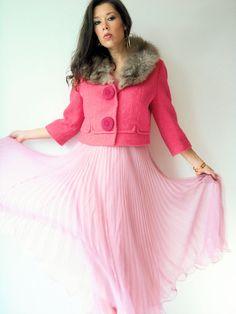Vintage 60's Bubble Gum Pink Fox Fur Coat / Boucle Wool by viralthreads