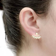 2pcs Silver Plated Zigzag Crawler Sweep Pin Ear Jackets Stud Earrings Triangle Front And Back Earring Fashion Women Jewelry