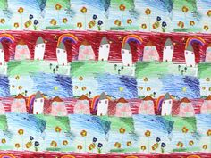 Baumwolljersey Malspass Häuser, blau-rot, 335.806-1000,  bei stoffe-hemmers.de, Weicher und trendiger Baumwolljersey im gestochen scharfen Digitaldruck,