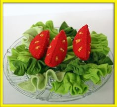 Wool Felt  Vegetables Play Food - Tomato Lettuce Salad - Accessory for Imaginative Play. $35.00, via Etsy.