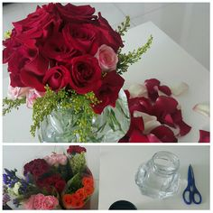 Got bunched of roses and arranged them in my ikea jars. Brightens up my space!