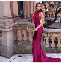 Silhouette:A-line Neckline:Spaghetti Straps Hemline/Train:Floor-length Sleeve Length:Sleeveless Embellishment:None Back Details:Zipper Fabric:Satin Item Detail brand new, column, mermaid or A Satin Dresses, Sexy Dresses, Fashion Dresses, Formal Dresses, Women's Fashion, Pink Dresses, Purple Dress, Sydney Fashion Blogger, Glamorous Dresses