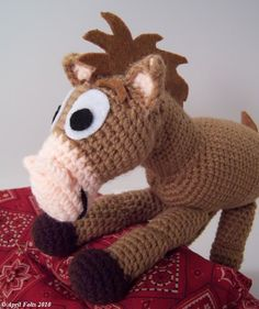 #Free Pattern; Crochet; brown pony  ~~