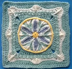 A unique crochet floral framed afghan block, presented as Mystery Observance Series in My Group, Spring Equinox/Easter, 2013