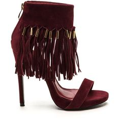 Fringe Faceoff Velvet Heels MAROON ($40) ❤ liked on Polyvore featuring shoes, pumps, heels, red, red stiletto pumps, red velvet pumps, high heel pumps, platform shoes and red open toe pumps
