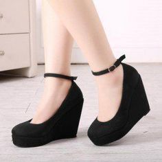 cb17657084c Black Closed Toe Wedges Ankle Strap Suede Platform Pumps  AnklestrapsHeels Black  Closed Toe Heels