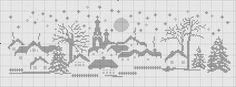 Free winter scene cross stitch chart 2 of 3 Cross Stitch House, Xmas Cross Stitch, Cross Stitch Charts, Cross Stitch Designs, Cross Stitching, Cross Stitch Embroidery, Cross Stitch Patterns, Crochet Cross, Filet Crochet